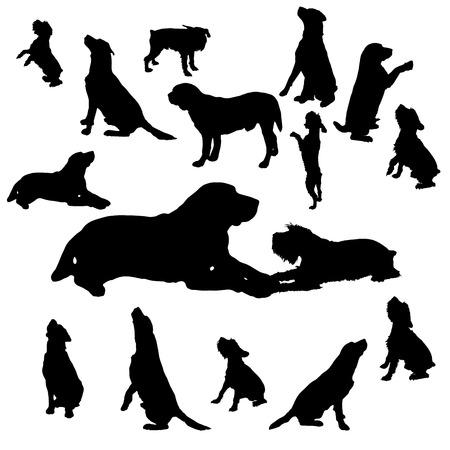 白い背景の上犬のベクトル シルエット。
