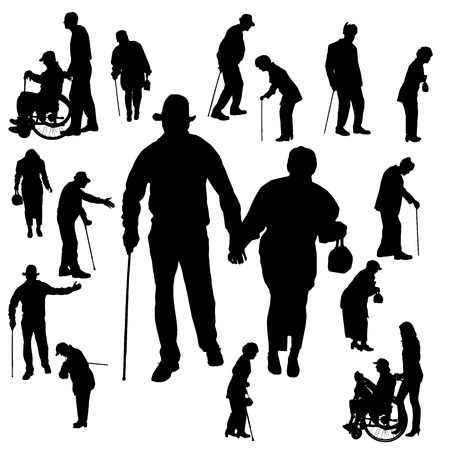 Vector silhouette of old people on white background. 向量圖像