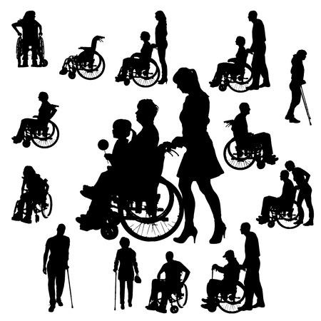 핸디캡: 흰색 배경에 휠체어에있는 사람들의 벡터 실루엣.