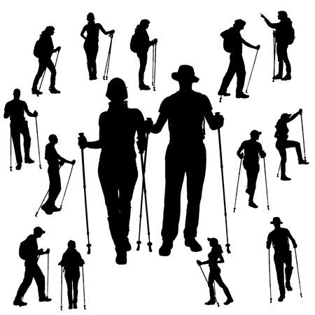 Vector silhouet van mensen met Nordic Walking.