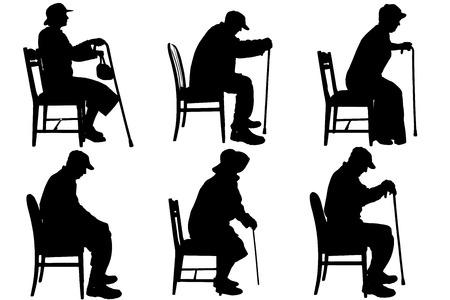 Vector Silhouette der alten Menschen auf weißem Hintergrund. Standard-Bild - 28363391