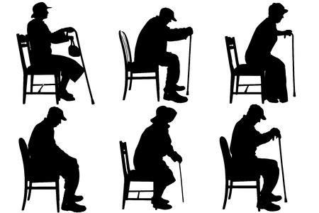 old man sitting: Vector silhouette of old people on a white background.  Illustration