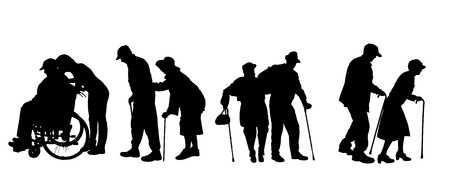 Vector silhouette of old people on a white background.  Vector