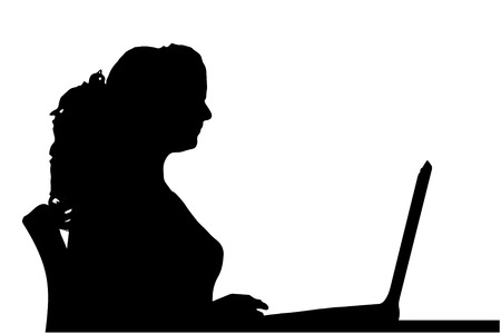 Vector silhouette of a woman sitting at a computer on a white background. Vector