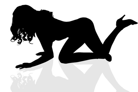 Vector silhouette sexy girl on a white background.