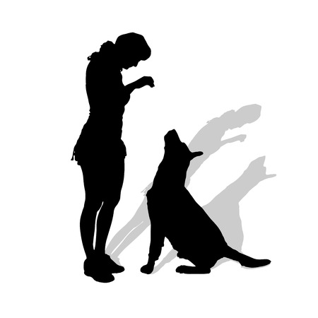 Vector silhouette of woman with dog on a white background.  Vector