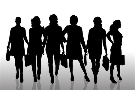 woman shadow: Vector silhouette of businesswoman on a white background.
