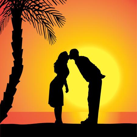 dattelpalme: Vector Silhouette von Menschen auf einem Strand bei Sonnenuntergang.