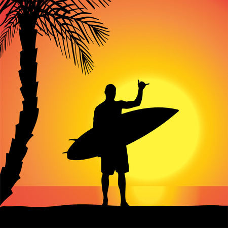 surfers: Vector silhouette of a man with a surfboard at sunset.