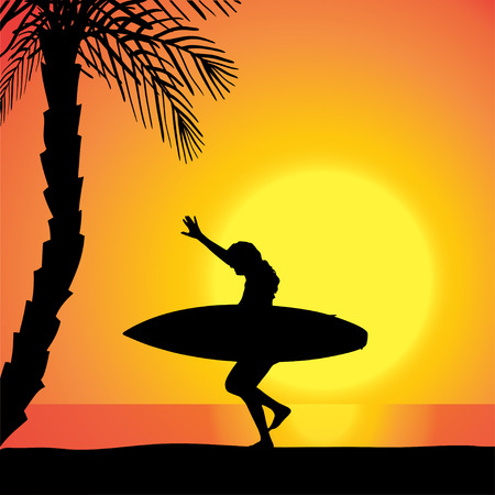 surfers: Vector silhouette of a woman with a surfboard at sunset.
