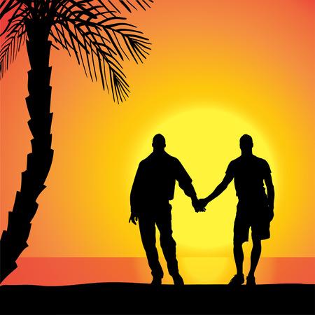 illustrazione uomo: Vector silhouette degli omosessuali sulla spiaggia al tramonto.