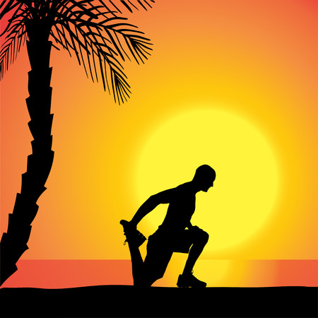 fale: Vector silhouette of a man who is outdoors at sunset. Illustration