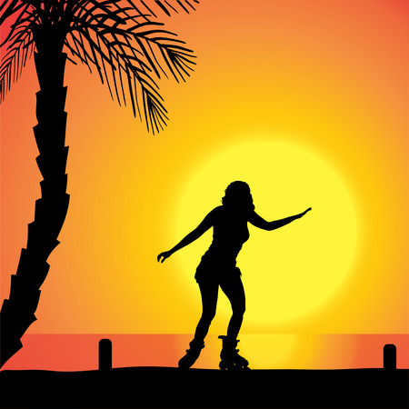 Vector silhouette of a woman who rides on roller skates at sunset. Vector