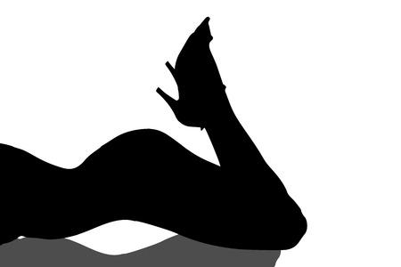 sexy meisje: Vector silhouet sexy meisje op een witte achtergrond. Stock Illustratie