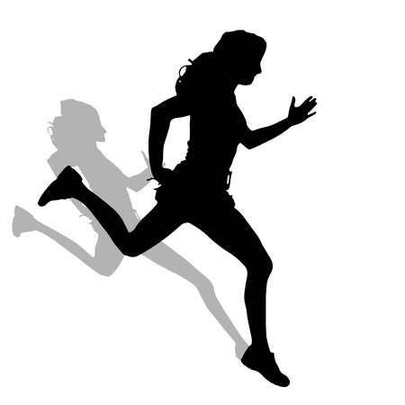 Vector silhouette of a woman who run on white background.  Vector