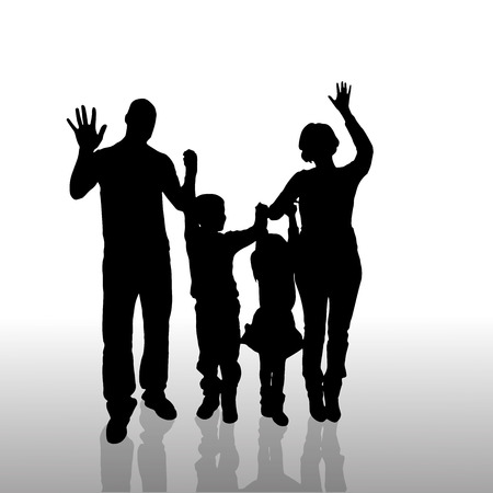 Vector silhouette of family on a white background.  Vector