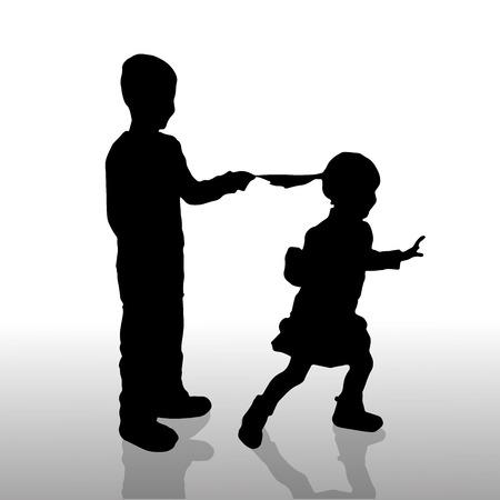 misbehaving: Vector silhouette of children on a white background.