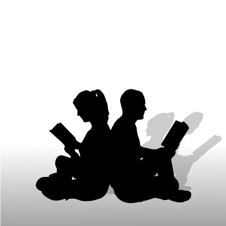 Vector silhouette of couple who is reading a book. Vector