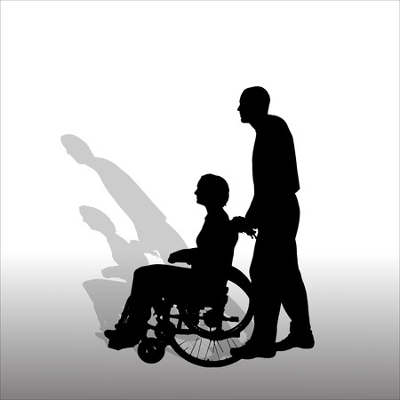 Vector silhouettes of people in a wheelchair  Vector