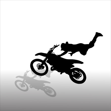 Vector silhouettes man who jumps on a motorbike. Vector