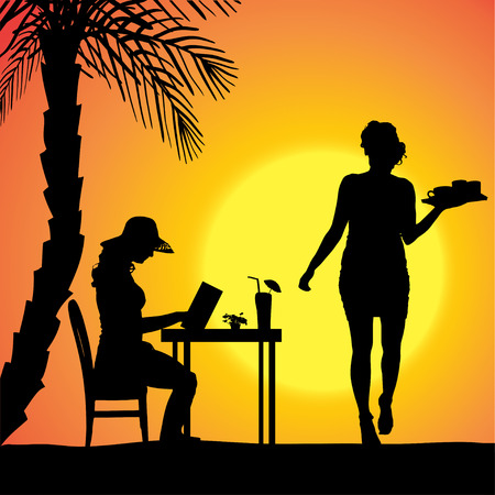 Vector silhouette of people in a beach restaurant at sunset. Vector