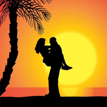 date palm: Vector silhouette of people on a beach at sunset.