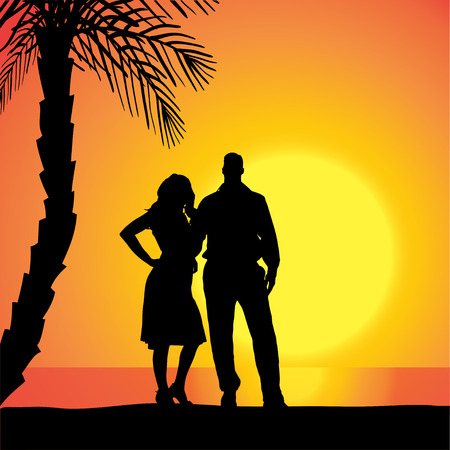Vector silhouette of people on a beach at sunset. Vector