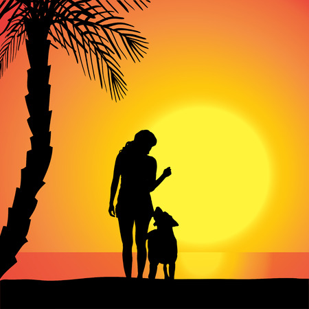 Vector silhouette of a woman with a dog on the beach at sunset. Vector