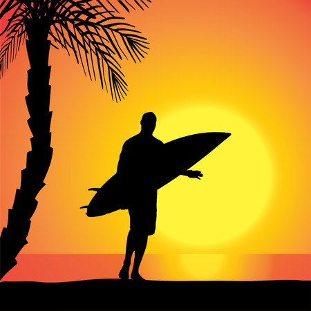 Vector silhouette of a man with a surfboard at sunset. Vector