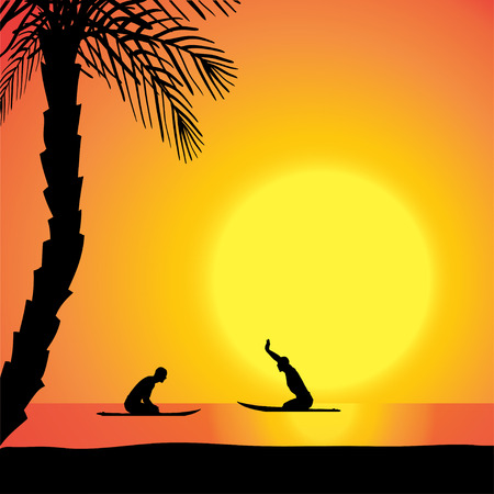 surfers: Vector silhouette of men with a surfboard at sunset. Illustration