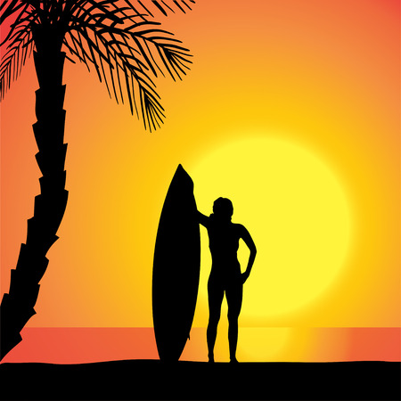 Vector silhouette of a woman with a surfboard at sunset. Vector