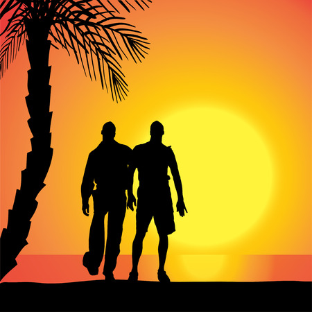 Vector silhouette of homosexuals on the beach at sunset. Vector