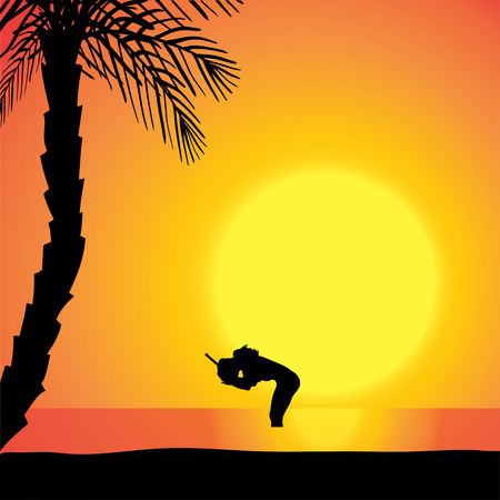 Vector silhouette of diver in the ocean at sunset. Vector