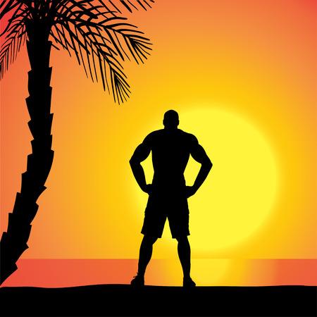 fale: Vector silhouette of a man who is at outdoors during sunset.