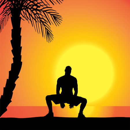 fale: Vector silhouette of a man exercising outdoors during sunset. Illustration