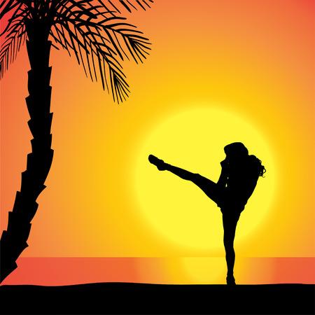 mujer ejercitandose: Vector silueta de un hombre de hacer ejercicio al aire libre durante la puesta del sol. Vectores
