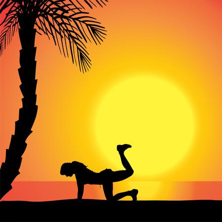 mujer ejercitandose: Vector silueta de un hombre de hacer ejercicio al aire libre durante la puesta de sol.