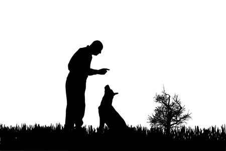Vector silhouette of man with dog on a white background.  Vector
