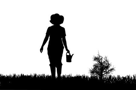 wellingtons: Vector silhouette of a gardener on white background.  Illustration