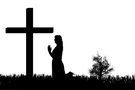 Vector Silhouette einer Frau, die am Kreuz betet.