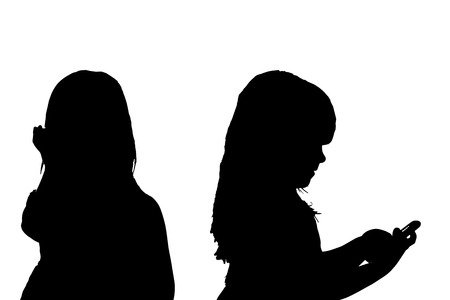 anonym: Vector silhouette of a girl on a white background.