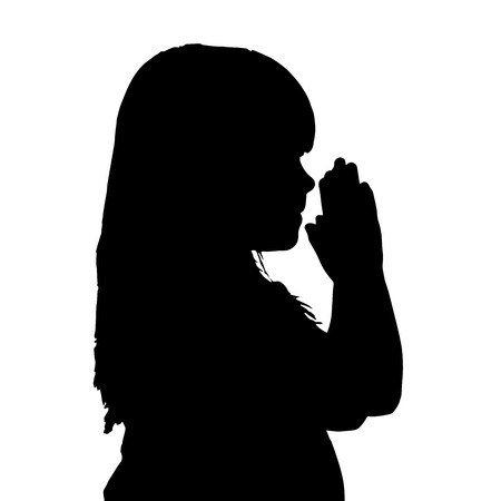 hopeless: Vector silhouette of a girl who is praying. Illustration