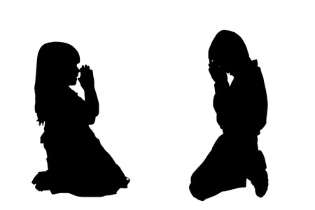 Vector silhouette of a children who is praying.