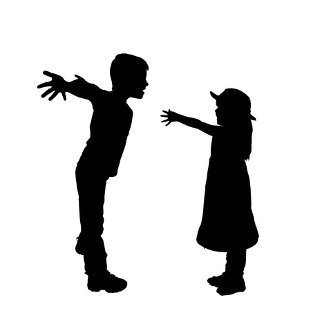 Vector silhouette of children on a white background. Vector