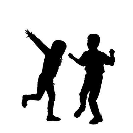 activ: Vector silhouette of children on a white background.