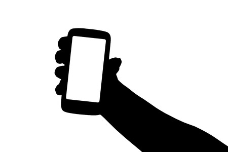 Vector silhouette hand with a mobile phone. Vector