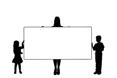 Vector silhouette of a family that holding a white signs. Vector