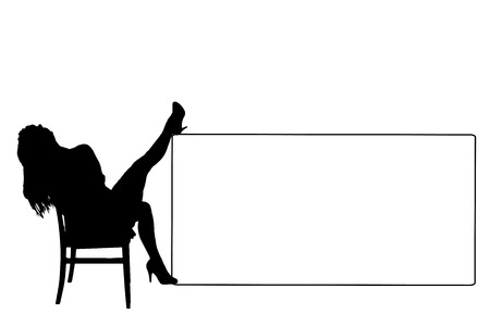 Vector silhouette of a woman white signs. Vector