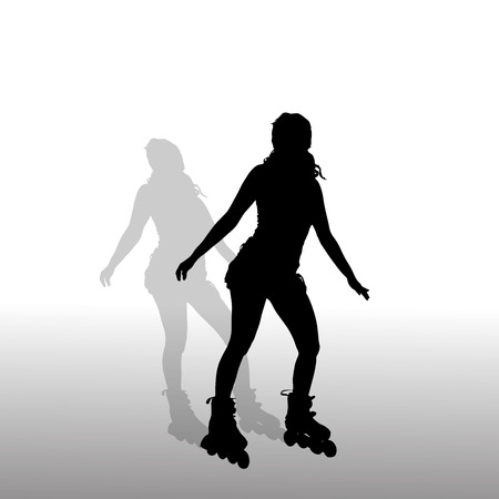 Vector silhouette of a girl who rides on roller skates. Vector
