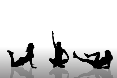 yoga girl: Vector silhouette of a woman who practices.